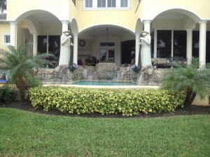 Beautiful pool area/back lawn off the water in Naples, FL.